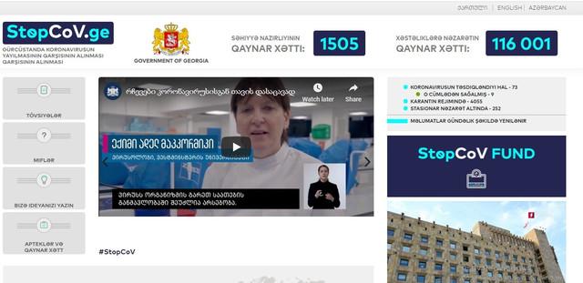 Slider-Gürcüstanda koronavirusla bağlı rəsmi sayt Azərbaycan dilində fəaliyyətə başlayıb