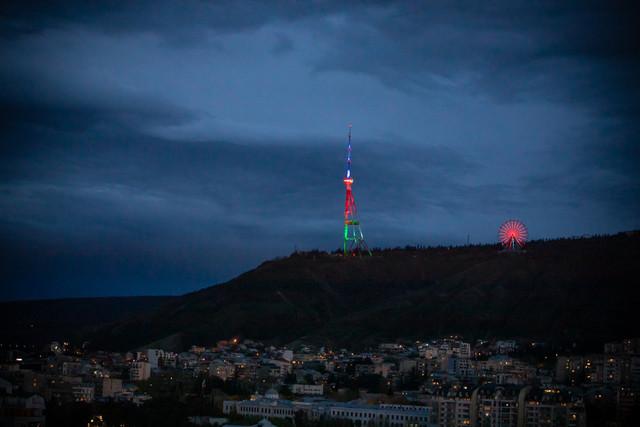 Slider-Tbilisi teleqülləsi Azərbaycan bayrağının rəngləri ilə işıqlandırıldı